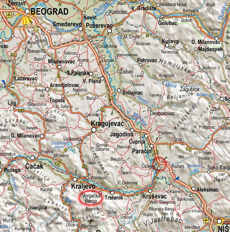 polozaj vrnjacke banje na karti Srbije